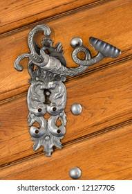antique beaten door handle