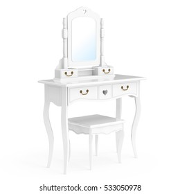 vanity table. Antique Bedroom Vanity Table With Stool And Mirror On A White Background  3d Rendering Dressing Images Stock Photos Vectors Shutterstock