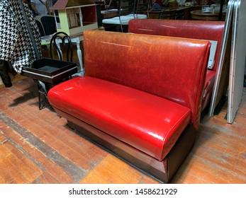 Antique Bench Diner Red Vintage