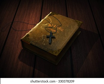 antique bible and cross