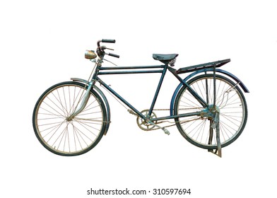 Antique bicycle on white background.