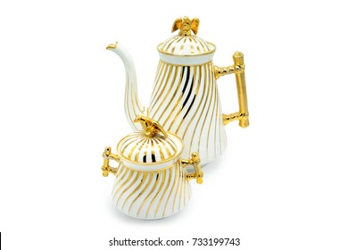antique Biedermeier Time porcelain set of coffee pot and sugar box. golden stripes and eagle on top