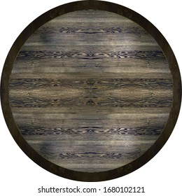 antique black brown oak wood round panel with black border, country French table
