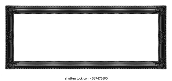 Antique black frame isolated on white background, clipping path.