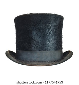 Antique black gentleman hat isolated on a white background