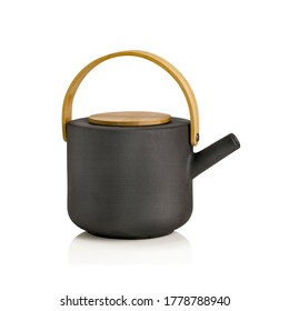 Antique Black kettle isolated over white, ceramic kettle, vintage  teapot, ceramic Black teapot