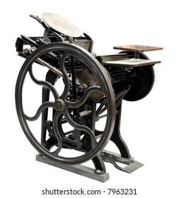 antique black letterpress restored to working condition, isolated on white