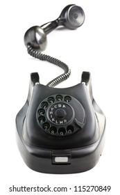 antique black phone on white background