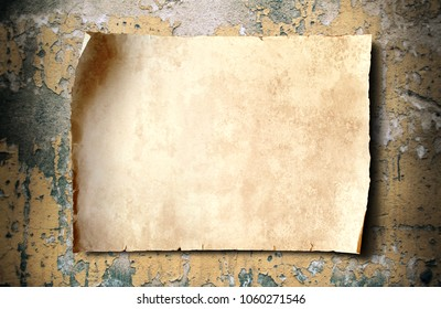 antique blank parchment paper on aged cement wall,  old parchment for text or image.