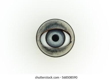 antique blue doll's eye, on white background