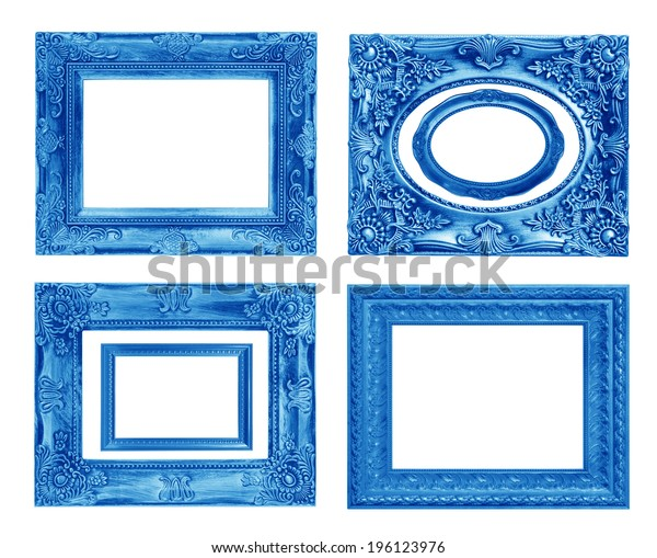 The antique blue frame on the white background