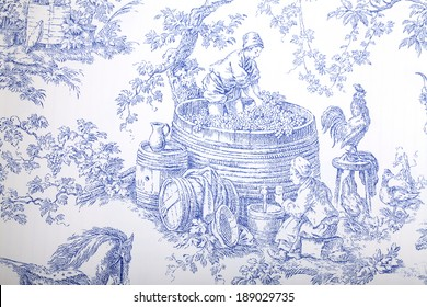 Antique blue and white french baroque pattern wallpaper depicts pastoral men and women wine making.