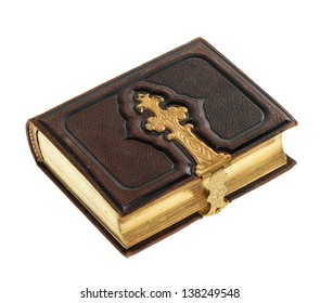 antique book with golden decoration isolated on white background. vintage photo album with leather cover