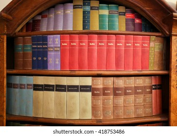 Antique books in the Library of Prague, Czech Republic.