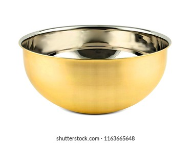antique bowl, luxury golden cup isolated on white background