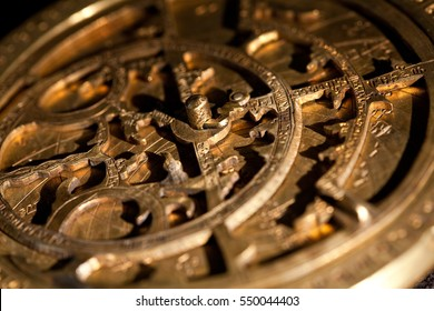 Antique brass astrolabe made by an Armenian merchant named Vanandetsi. XVIII Century. (DETAIL)