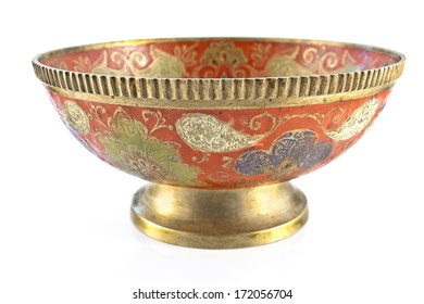 Antique brass bowl isolated on white