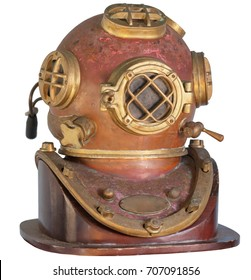 Antique, brass diving helmet with four windows and bolted fittings, isolated on a white background.