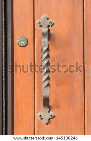 Antique Brass Front Door Handle Stock Photo Edit Now 145108246