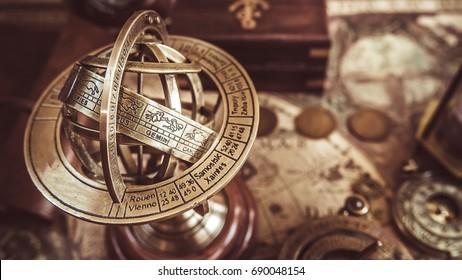 Antique Brass Globe Sphere Zodiac Signs