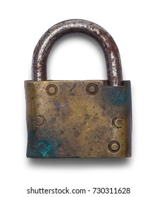 Antique Brass Lock Isolated on a White Background.