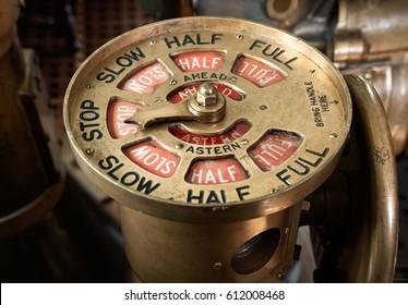 Antique brass steam ship telegraph set to stop