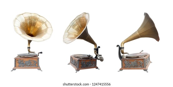 antique brass and wooden gramaphone on white background,copy space