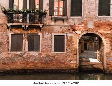 Antique Brick Facade in Venice Italy