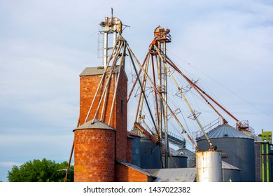 Antique Brick Grain Elevator Silo Structure During the Day