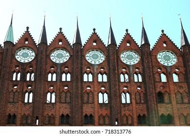 Antique brick wall facade of the townhall in Stralsund, Germany