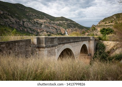antique bridge in the Domeno reservoir (Turia Basin), province of Valencia, Valencian Community, Spain