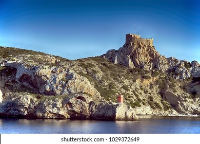 Antique british castle on a hill of Cabrera island on the Mediterranean sea in Spain.