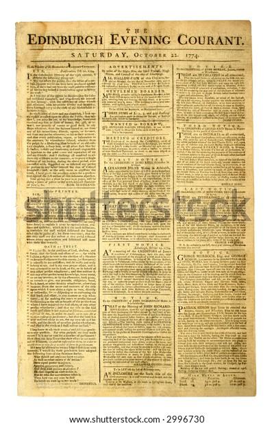 Antique British Newspaper, Edinburgh Evening Courant of 1774,