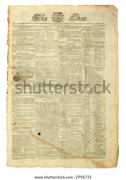Antique British Newspaper, London's The Star of  1793.
