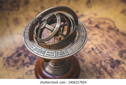 Antique Bronze Armillary Sundial With A Zodiac Sign Sphere