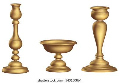 Antique bronze candleholder 3d Golden ecclesiastical cup and torch vintage white background