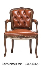 antique brown leather chair isolated on white