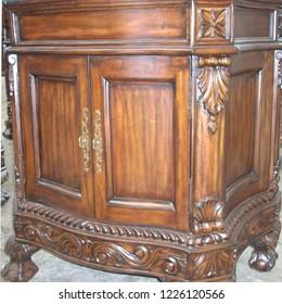 antique brown mahogany cabinet