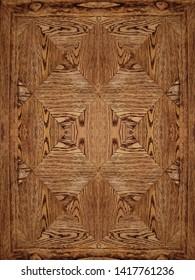 antique brown mende veneer wooden top table, geometric rhombus grain pattern