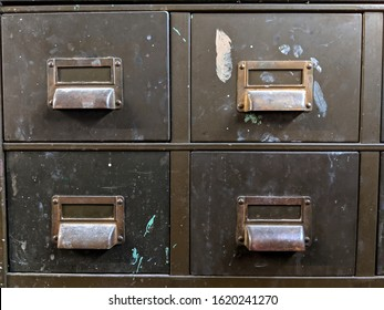Antique brown metal file cabinet