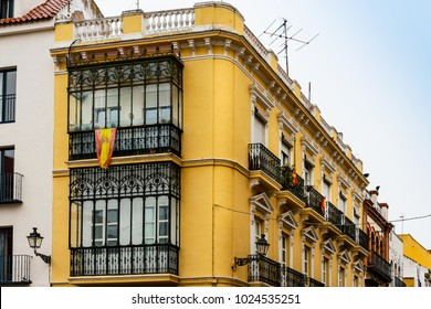 Antique building view in Old Town Sevilla, Spain