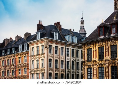 antique building view in Old Town Lille, France