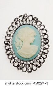 antique cameo silver brooch