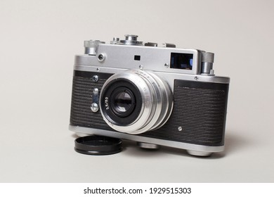 Antique camera on a light background