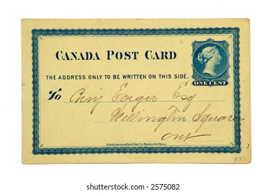 Antique Canadian Post Card issued in 1874 with a printed one cent stamp of Queen Victoria.