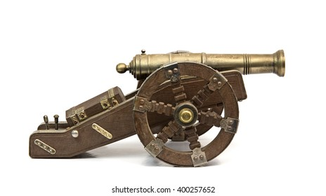 Antique cannon isolated over white