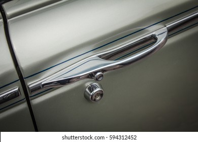 Antique car, classic, chrome-plated door handle