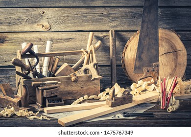 Antique carpentry workshop on rustic wooden table
