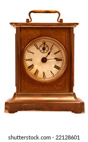 Antique carriage clock, isolated on white
