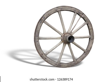 Antique Cart Wheel made of wood and iron-lined, with shadow over white